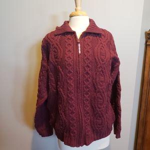 Aran crafts Ireland maroon cableknit sweater car